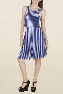 Chemistry Blue Striped Knee Length Dress