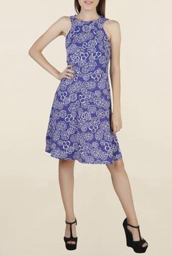 Chemistry Blue Floral Print Knee Length Dress