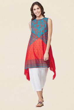 Global Desi Red Printed Asymmetric Tunic