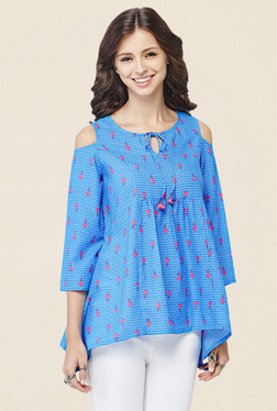 Global Desi Blue Printed Cold Shoulder Top