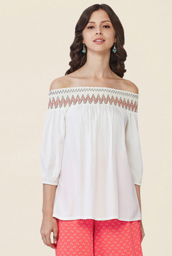 Global Desi Off White Embroidered Off Shoulder Top