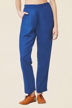 Global Desi Blue Solid Slim Fit Straight Pants