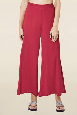 Global Desi Red Solid Slit Regular Fit Pants