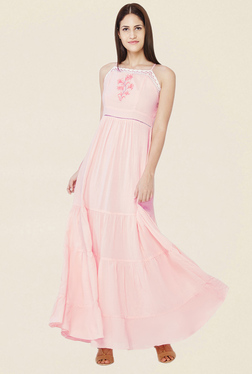 AND Pink Embroidered Maxi Dress