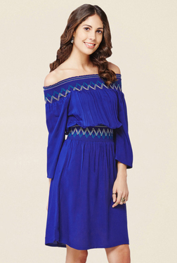 Global Desi Blue Knee Length Dress