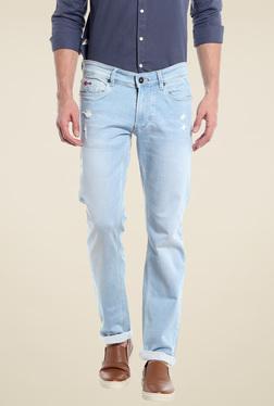 Numero Uno Sky Blue Slim Fit Low Rise Jeans