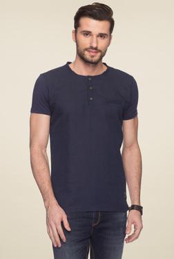 Status Quo Navy Slim Fit Henley T-Shirt