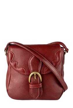 Hidesign Hemlock 03 Maroon Stitched Leather Sling Bag