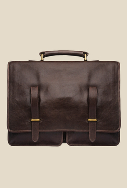f1d22be11a97 Hidesign Parma Brown Leather Messenger Bag
