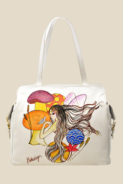 Hidesign The Queen Of Hearts White Printed Shoulder Bag