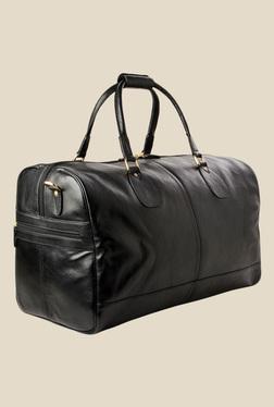 Hidesign Kingsley Black Solid Leather Duffle Bag