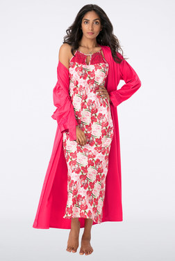 PrettySecrets Pink Floral Print Nightie With Wrap