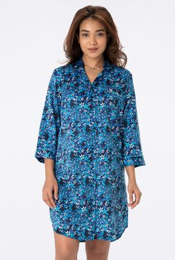 PrettySecrets Blue Floral Print Night Shirt