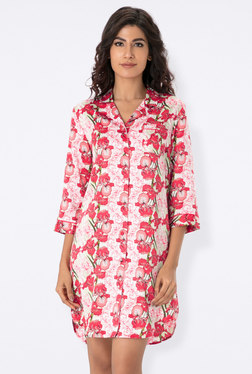 PrettySecrets Pink Floral Print Night Shirt