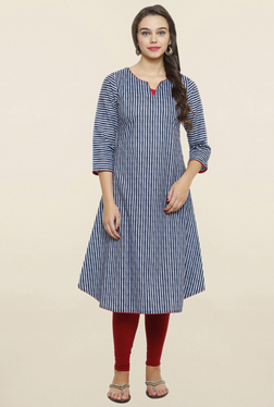 Alom Navy & White Striped A Line Kurta