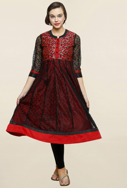 Alom Black & Red Floral Print Anarkali Kurta