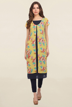 Alom Yellow & Navy Floral Print Kurta With Layer