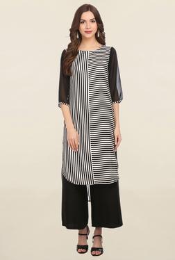 Alom Black & White Striped Kurta