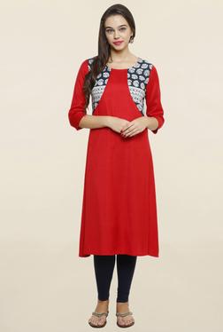 Alom Red Printed Kurta With Mock Jacket