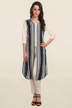 Alom Navy & White Striped Kurta