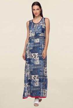 Mineral Indigo Printed Bianca High Slit Maxi Dress