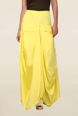 Mineral Yellow Solid Vitika Drape Maxi Skirt
