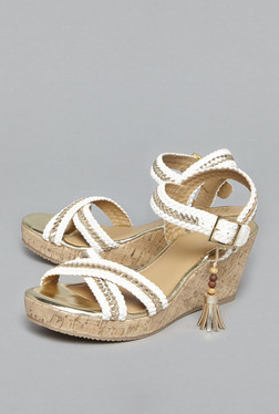 Head Over Heels by Westside White Cross Strap Wedges