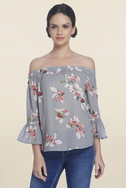 Only Grey Floral Print Off Shoulder Top