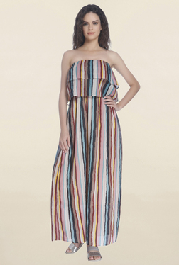 Only Multicolor Striped Off Shoulder Maxi Dress