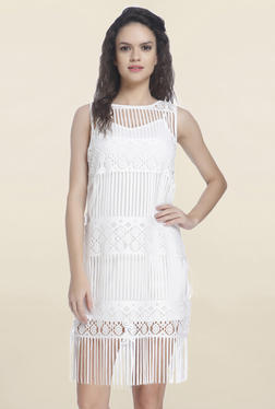 Only White Lace Knee Length Dress