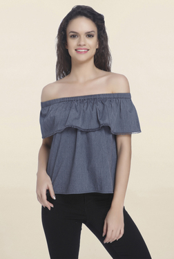 Only Blue Solid Off Shoulder Top