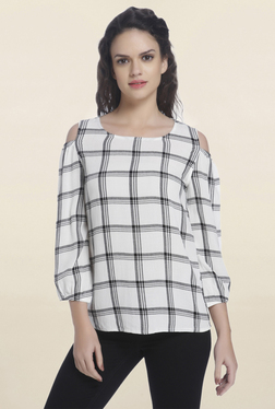 Only White Checks Cold Shoulder Blouse
