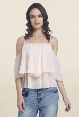 Only Light Pink Solid Cold Shoulder Top