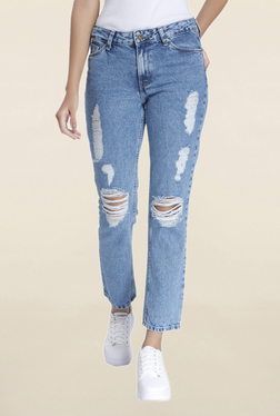 Vero Moda Blue Slim Fit Low Rise Tattered Jeans