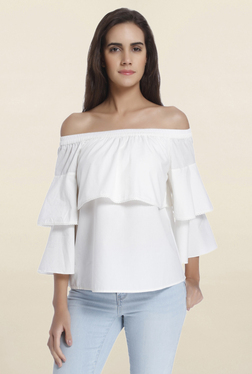 Vero Moda Snow White Solid Off Shoulder Frill Top