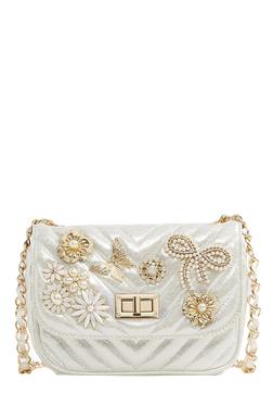Aldo Achira Pearl White Embellished Sling Bag