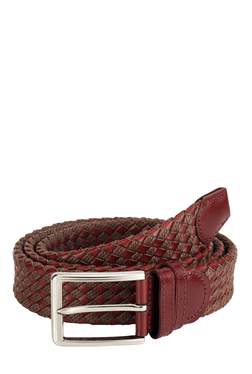 Teakwood Leathers Red & Black Interlaced Narrow Belt