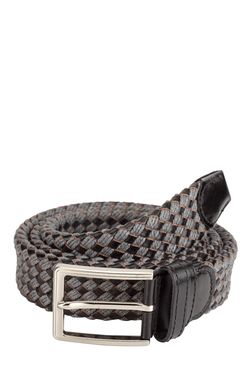 Teakwood Leathers Black & Grey Interlaced Narrow Belt