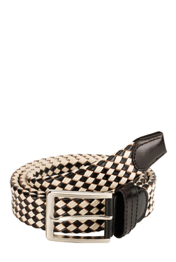 Teakwood Leathers Black & Cream Interlaced Narrow Belt