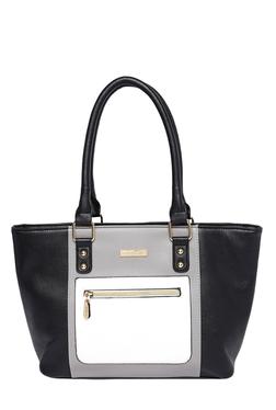 Addons Black & Grey Color Block Shoulder Bag