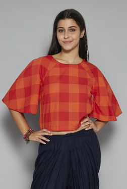 Bombay Paisley By Westside Red & Orange Checks Crop Top