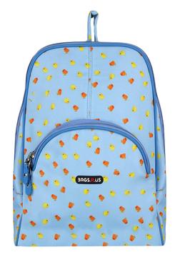 BagsRUs Petite Sky Blue Printed Polyester Backpack
