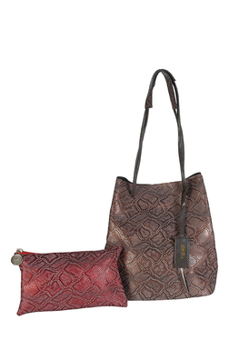 Horra Brown & Red Textured Shoulder Bag With Pouch