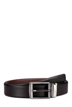 Teakwood Leathers Black Textured Leather Narrow Belt