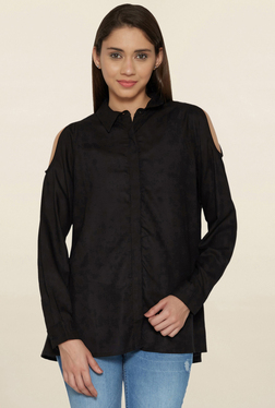 Globus Black Cold Shoulder Shirt