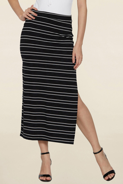 Globus Black Striped Midi Skirt