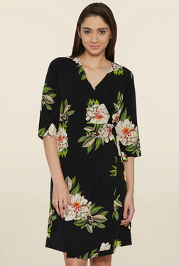 Globus Black Floral Print Knee Length Dress