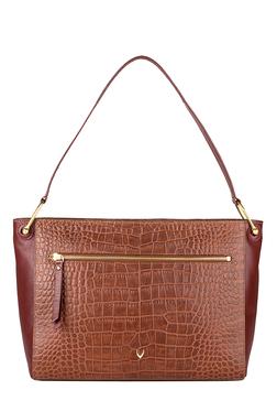 Hidesign Jupiter 02 Brown Textured Leather Shoulder Bag