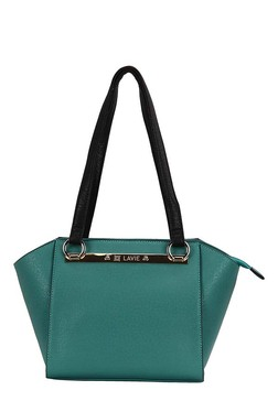 Lavie Palm Teal Green Solid Trapeze Shoulder Bag