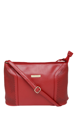 Addons Red Cut Work Sling Bag